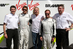 Sir Richard Branson CEO of the Virgin Group makes and announcement regarding the Virgin sponsorship deal with Brawn GP, Nick Fry, BrawnGP, Chief Executive Officer, Jenson Button, Brawn GP, Sir Richard Branson CEO of the Virgin Group, Jenson Button, Brawn