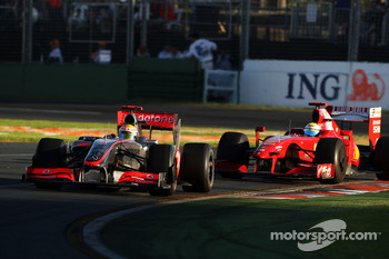 Lewis Hamilton, McLaren Mercedes, MP4-24 leads Felipe Massa, Scuderia Ferrari, F60