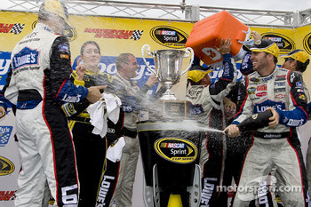 Victory lane: race winner Jimmie Johnson, Hendrick Motorsports Chevrolet, celebrates