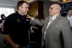 Office Depot Chamber day in the Speedway Club at the Texas Motor Speedway: Ryan Newman talks with Bruton Smith