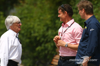 Bernie Ecclestone, President and CEO of Formula One Management and David Coulthard, Red Bull Racing, Consultant
