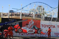 Wrecked car of Helio Castroneves, Team Penske
