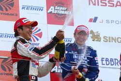 GT500 podium: champagne celebrations