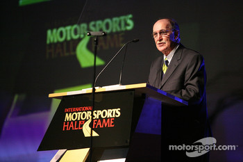NASCAR Vice President of Corporate Communications Jim Hunter presents former NASCAR Sprint Cup Series driver Donnie Allison into the International Motorsports Hall of Fame
