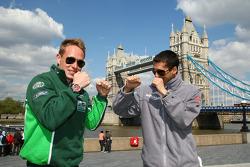 Adam Carroll, driver of A1 Team Ireland with Neel Jani, driver of A1 Team Switzerland