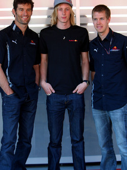 Mark Webber, Red Bull Racing and Sebastian Vettel, Red Bull Racing with the new test driver Brendon Hartley
