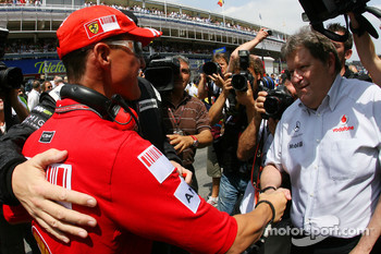 Michael Schumacher, Test Driver, Scuderia Ferrari, Ross Brawn, Brawn GP, Team Principal and Norbert Haug