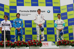 Podium, Luiz Felipe Nasr, Eurointernational, Michael Christensen, Muecke Motorsport and Jazeman Jaafar, Eifelland Racing