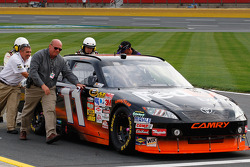 Denny Hamlin, Joe Gibbs Racing Toyota pushed after breaking a transmission