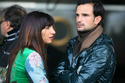 Vitantonio Liuzzi, Force India F1 test driver, with his girlfriend Francesca Caldarell, visiting the DTM