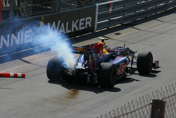 Smoke coming from the car of Sebastian Vettel, Red Bull Racing