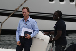 Christian Horner, Red Bull Racing, Sporting Director on his way to the FOTA meeting on the boat of Flavio Briatore, Renault F1 Team, Team Chief, Managing Director