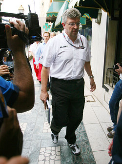 Ross Brawn Team Principal, Brawn GP goes to the meeting with Bernie Ecclestone and Max Mosley at the ACM.