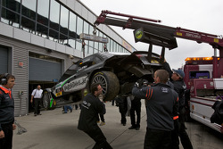 Wrecked car of Johannes Seidlitz, Kolles TME Audi A4 DTM, after a heavy crash in practice