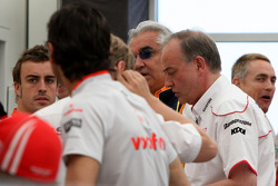 A meeting of Team Principles and drivers is held in the Toyota motorhome, Fernando Alonso, Renault F1 Team, Flavio Briatore, Renault F1 Team, Team Chief, Managing Director