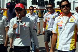 A big meeting of all Team Principles and all F1 drivers is held in the Toyota motorhome: Heikki Kovalainen, McLaren Mercedes, Christian Klien, Test Driver, BMW Sauber F1 Team, Fernando Alonso, Renault F1 Team, Nelson A. Piquet, Renault F1 Team