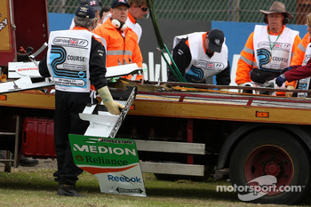 The car of Adrian Sutil, Force India F1 Team after his crash