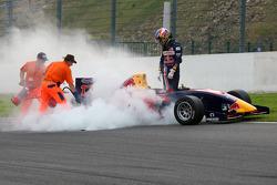 The car of Robert Wickens after a start crash