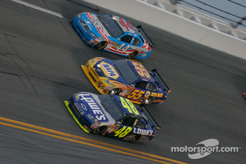 Jimmie Johnson, Hendrick Motorsports Chevrolet, Michael Waltrip, Michael Waltrip Racing Toyota and A.J. Allmendinger, Richard Petty Motorsports Dodge