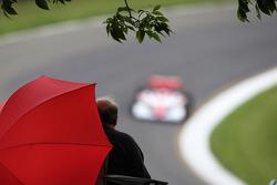 A fan watches Indycar qualifying
