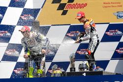 Podium: race winner Dani Pedrosa, Repsol Honda Team, second place Valentino Rossi, Fiat Yamaha Team