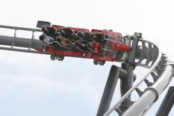Michael Schumacher, Test Driver, Scuderia Ferrari, on the new rollercoaster, the Ring Racer