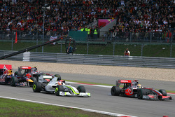 Start: Lewis Hamilton, McLaren Mercedes in the lead, Rubens Barrichello, Brawn GP