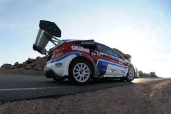 Andreas Eriksson takes a hairpin during Pikes Peak practice
