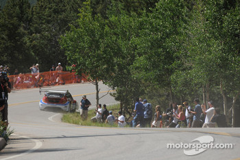 Marcus Gronholm starts up the mountain in his Ford Fiesta
