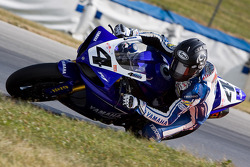 The #4 Factory Yamaha YZF-R1 of Josh Hayes on his pole winning effort