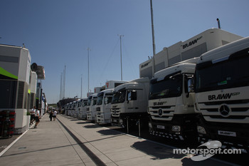 Brawn GP Trucks in the paddock
