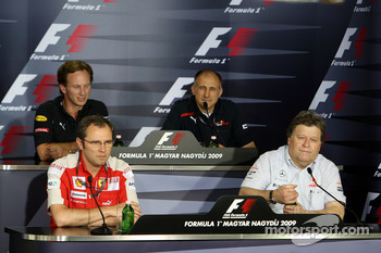 FIA press conference: Christian Horner, Red Bull Racing, Sporting Director, Stefano Domenicali, Scuderia Ferrari, Sporting Director, Franz Tost, Scuderia Toro Rosso, Team Principal, Norbert Haug, Mercedes, Motorsport chief