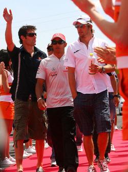Jenson Button, Brawn GP and Lewis Hamilton, McLaren Mercedes