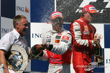 Podium: race winner Lewis Hamilton, McLaren Mercedes, celebrates with Martin Whitmarsh, McLaren Chief Executive Officer