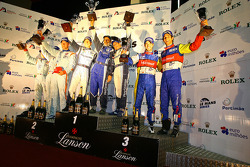 LMP1 podium: class and overall winners Jean-Christophe Boullion and Christophe Tinseau, second place Jan Charouz, Tomas Enge and Stefan Mücke, third place Bruno Senna and Tiago Monteiro