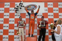 Podium: race winner Andrew Ranger, second place Anthony Simone and third place D.J. Kennington