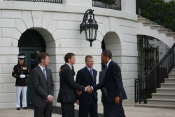 NASCAR-CUP: NASCAR Sprint Cup Series drivers Dale Earnhardt Jr., Denny Hamlin and Jeff Burton are welcomed to the White House in Washington, D.C. by President Barack Obama