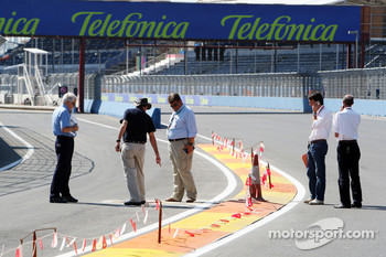 Charlie Whiting, FIA Safty delegate, Race director and offical starter inspects the circuit