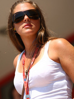A girl in the paddock club