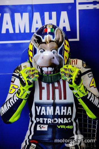 Valentino Rossi, Fiat Yamaha Team, shows his new helmet design with a donkey