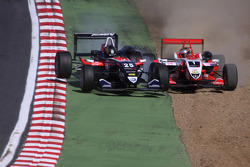 Jules Bianchi, ART Grand Prix, Dallara F308 Mercedes and Tiago Geronimi, Signature, Dallara F308 Volkswagen, crash heavily causing a red flag