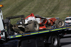 Crashed car of Jules Bianchi, ART Grand Prix Dallara F308 Mercedes