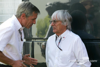 Bernie Ecclestone and Daniel Morelli, manager of Robert Kubica, BMW Sauber F1 Team