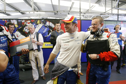 LMP1 and overall pole winner Nicolas Lapierre celebrates