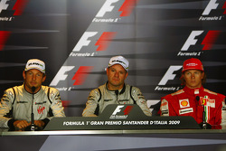 FIA press conference: race winner Rubens Barrichello, BrawnGP, second place Jenson Button, BrawnGP, third place Kimi Raikkonen, Scuderia Ferrari