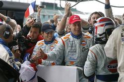 Jan Charouz, Tomas Enge and Stefan Mücke celebrate LMP1 Le Mans Series 2009 championship