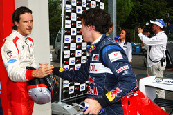 Milos Pavlovic and Robert Wickens in Parc Ferme