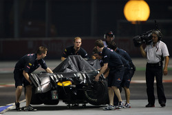 The car of Mark Webber, Red Bull Racing after crashing in the session