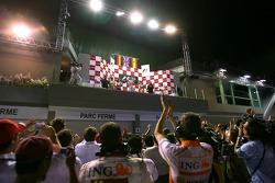 Timo Glock, Toyota F1 Team, Lewis Hamilton, McLaren Mercedes and Fernando Alonso, Renault F1 Team