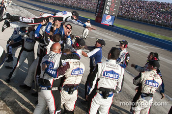 Hendrick Motorsports Chevrolet team members celebrate Jimmie Johnson's win